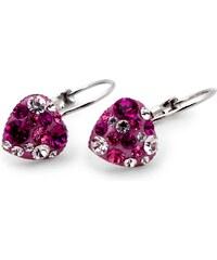 Srdíčkové naušnice GLUGIS s růžovými kamínky