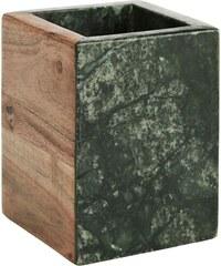 Madam Stoltz Mramorový kalíšek na kartáčky Green/wood