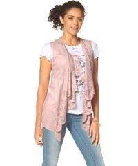 Vesta z imitace kůže, slabá letní vesta s děrovaným laserovým vzorem BOYSENS 32/34 rosa