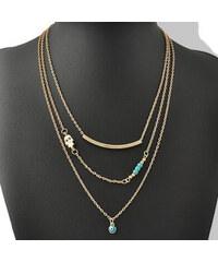 Lesara Dreigliedrige Halskette mit Türkis