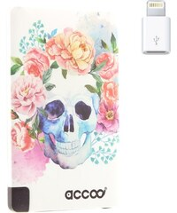 Accoo Skull Flowers Dream - Chargeur Nomade pour Smartphones - blanc