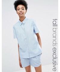 ADPT Tall - Kurzärmliges Chambray-Hemd als Kombiteil - Blau