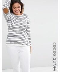 ASOS CURVE - Gestreifter Pullover mit ovalen, hellbraunen Ellbogenflicken - Mehrfarbig