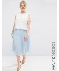 ASOS CURVE - Jupe mi-longue plissée - Bleu