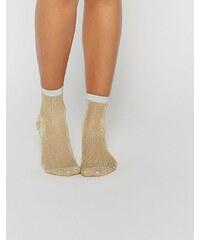 ASOS - Gold glitzernde Socken mit silberner Verzierung - Gold