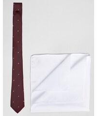 ASOS - Getupfte Krawatte und weißes Einstecktuch im Set - Rot