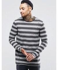 ASOS - Transparentes, langärmliges Shirt aus Flammgarn-Jersey mit Streifen in zerrissener Optik - Grau