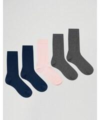 ASOS - Lot de 5 chaussettes - Rose, gris et bleu marine - Multi
