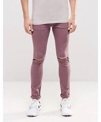 ASOS - Jean super skinny avec déchirures aux genoux - Violet - Violet