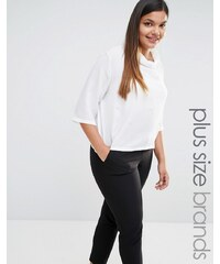 Elvi - Hochgeschlossene, verzierte Bluse - Weiß
