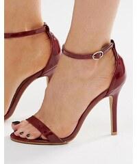 Glamorous - Sandales vernies à talons en deux parties - Bordeaux - Rouge