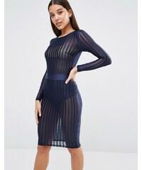 NaaNaa - Bodysuit aus Satin mit transparenten Streifen - Marineblau