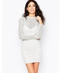 Oh My Love - Langärmliges, figurbetontes Kleid aus glitzerndem Material mit Zickzack-Muster - Weiß