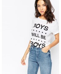 South Parade - T-shirt motif Boys Will Be Boys - Blanc