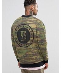 ASOS - Bomber en jersey délavé à imprimé camouflage - Vert