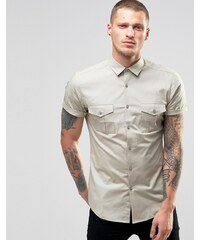 ASOS - Chemise style militaire coupe skinny - Taupe - Beige