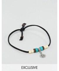 Reclaimed Vintage - Bracelet de cheville à breloque soleil - Noir