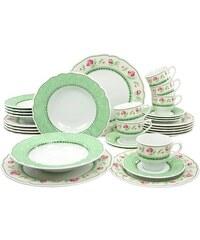 CreaTable Kombiservice Porzellan 30 Teile FLORA JUST ROSES grün