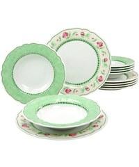 CreaTable Tafelservice Porzellan 12 Teile FLORA JUST ROSES grün