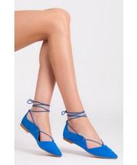 VICES Vázané modré semišové trendy baleríny