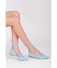 VICES Fantastické semišové modré baleríny s vázáním