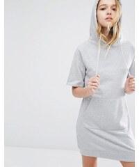 Daisy Street - Kurzärmliges Sweatkleid mit Kapuze mit Kangurutasche - Grau