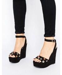 Glamorous - Schwarze verzierte Sandalen mit Keilabsatz - Schwarz