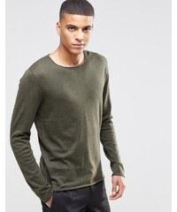 Selected Homme - Pull en maille de soie mélangée à bords bruts - Vert