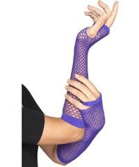 Síťované rukavice neon fialové bez prstů