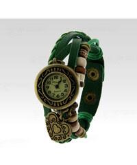 Wayfarer Analogové hodinky Leather srdce zelené