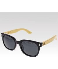 VeyRey dřevěné sluneční polarizační brýle Stump černá skla.