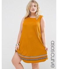 ASOS CURVE - Ausgestelltes Sommerkleid aus Rippstrick mit Paspelierung - Orange