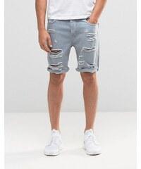 ASOS - Short slim en jean ultra déchiré - Bleu - Bleu