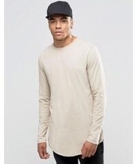 ASOS - T-shirt long décontracté à manches longues avec ourlet arrondi et fermetures éclair - Fauve - Marron