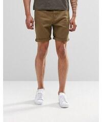 ASOS - Short en jean slim - Kaki - Vert
