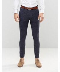 ASOS - Pantalon de costume super skinny en jersey moucheté - Bleu marine