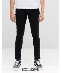 Brooklyn Supply Co - Dyker - Sehr enge Skinny-Jeans in verwaschenem Schwarz mit Fransensaum - Schwarz