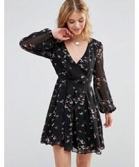 Style London - Robe portefeuille à imprimé oiseaux - Noir