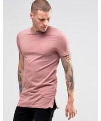 ASOS - T-shirt moulant long avec fermetures éclair sur les côtés - Rose - Rose