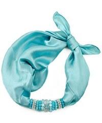 Jablonec Šátek s bižuterií Letuška 299let001-31 - bledě modrý jednobarevný