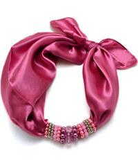 Jablonec Šátek s bižuterií Letuška 299let001-27a - růžový jednobarevný