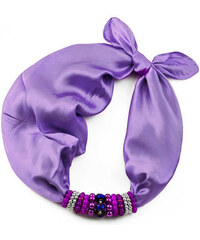 Jablonec Šátek s bižuterií Letuška 299let001-33c - fialový jednobarevný