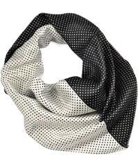 Šátek saténový 63sk003-03 - černobílý puntíkovaný