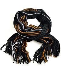 Šála panská pletená 69cp003-70.11 - černooranžová pruhovaná