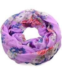Tunelová letní šála 69tl004-35a - fialová s modro-růžovými květy