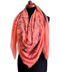 Velký šátek 69pl009-29.71 - korálový, mx potisků