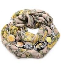 Šála s bižuterií bavlněná 450bb009-14 - béžovozlatá