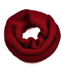 Tunelová pletená šála 69tz001-22c - tmavě červený nákrčník