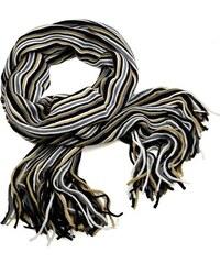 Šála panská pletená 69cp003-14.71 - šedobéžová pruhovaná