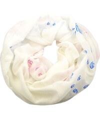 Tunelová šála 69tu004-01.02 - bílá s barevnými růžemi